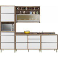 Cozinha Baronesa 4 Peças (Com Paneleiro) Branco/Nogal Nesher