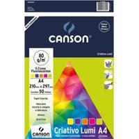 Bloco Criativo Canson A4 Lumi Color 75G Com 50 Folhas Coloridas