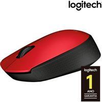 Mouse Óptico Sem Fio Logitech M170 Com 3 Botões, Nano Receptor Usb, Resolução De 1000Dpi E Vermelho