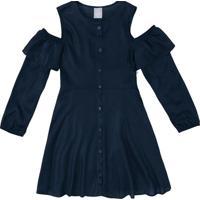 Vestido Com Recortes Vazados- Azul Escuro- Kids-Hering