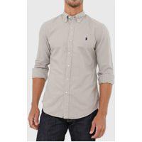 Camisa Sarja Polo Ralph Lauren Slim Logo Cinza
