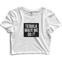 Cropped Morena Deluxe Tequila Made Me Do It - Feminino-Branco