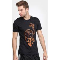 Camiseta Adidas Lil Stripe Ss Masculina - Masculino-Preto+Laranja