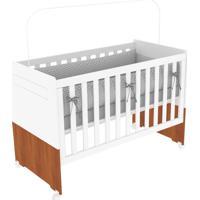 Berço Kind Móveis Mini Cama Bebê Dora Regulável Branco Amadeirado