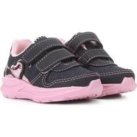 Tênis Infantil Kurz Coração Velcro Bebê - Feminino-Jeans