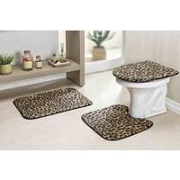 Jogo De Tapete Banheiro Safari 3 Peças Leopardo De Pelúcia
