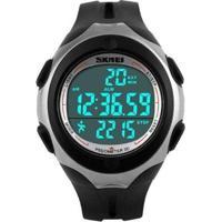 Relógio Skmei Digital Pedômetro Masculino - Masculino-Preto+Prata