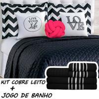 Kit Combo Cobre Leito C/ Jogo De Banho Isabela Preto/Pink Casal 13 Peças