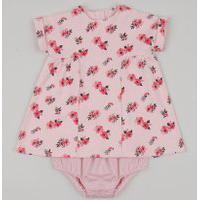 Vestido Infantil Estampado Floral Manga Curta + Calcinha Rosa Claro