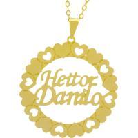 Gargantilha Horus Import Pingente Manuscrito Heitor Danilo Banho Ouro Amarelo