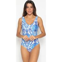 Body Floral- Branco & Azul- Patrapatra