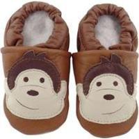 Pantufa Catz Calçados Infantil Couro Nicky Macaco - Unissex-Marrom
