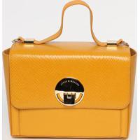 Bolsa Em Couro Com Recorte- Amarelo Escuro- 18X25X11Jorge Bischoff