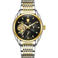 Relógio Tevise 631-002 Masculino Automático Pulseira Aço - Preto
