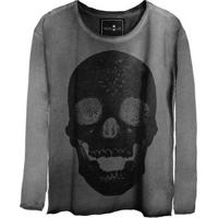 Camiseta Estonada Manga Longa Skull Pearl