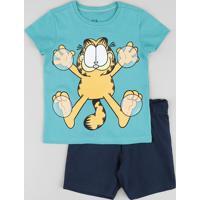 Conjunto Infantil Garfield De Camiseta Manga Curta Verde + Bermuda Em Moletom Azul Marinho