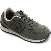 Tênis Infantil New Balance K574 - Unissex-Verde+Branco