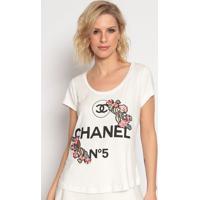 """Blusa """"Chanel Nº5"""" - Off White & Preta- Cavallaricavalari"""