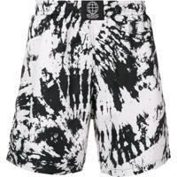 Sss World Corp Shorts De Banho Com Estampa Tie Dye - Branco
