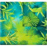 Versace Lenço De Seda Com Estampa Tropical - Verde