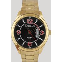Relógio Analógico Seculus Masculino - 23647Gpsvda3 Dourado - Único