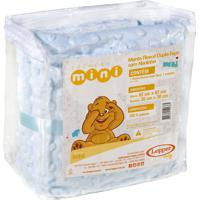Manta Fleece Dupla Face Naninha Bebê Mini 82 Cm X 82 Cm Com 2 Peças - Produto Importado Lepper Azul