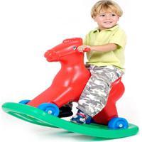 Cavalinho Balanço E Andador Com Som Vermelho Alpha Brinquedos - Tricae