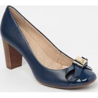 Sapato Tradicional Em Couro Com Laã§O- Azul Marinho- Jorge Bischoff