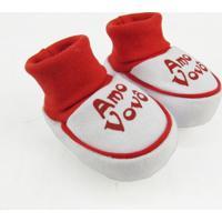 Pantufa Bebê Unissex Suedine Amo Vovô Vermelha - Unissex-Vermelho