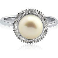 Anel Ouro Branco Pérola E Diamante