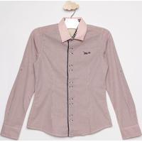 Camisa Listrada Com Bordado- Rosa Claro & Cinzalilica Ripilica E Tigor T. Tigre