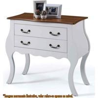 Comoda Elegance 2 Gavetas Branco Com Imbuia 90Cm (Larg) - 58859 - Sun House