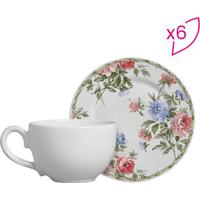 Conjunto De Xícaras De Chá Floral- Branco & Rosa- 6Pscalla Cerâmica