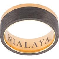 b6885809c80 Nialaya Jewelry Anel De Aço Inoxidável Com Recortes Contrastantes - Amarelo