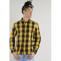 058cf9e71e CEA  Camisa Masculina Xadrez Com Bolso Manga Longa Amarela