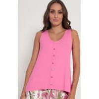 Blusa Canelada Com Botões - Rosa- Lança Perfumelança Perfume
