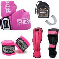 Kit Boxe Muay Thai Fheras- Luva Bucal Caneleira Bandagem – 14 Oz Rosa Orion