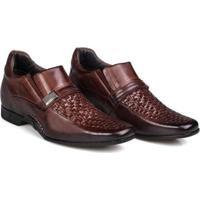 Sapato Social Masculino Rafarillo Couro Trissê Conforto - Masculino-Mogno