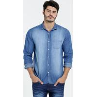 Camisa Masculina Jeans Manga Longa Blu Bay