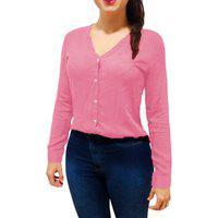 Camisa Blusa Feminina Social Manga Longa Gola V Rosa Bebe