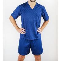 Pijama Gislal Shorts Manga Curta Verão Masculino - Masculino-Azul Escuro