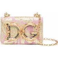 Dolce & Gabbana Bolsa Dg Girls Micro Com Estampa Floral - Rosa