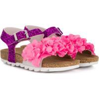 Monnalisa Sandália Com Aplicação Floral - Rosa