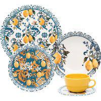 Aparelho De Jantar/Chá 20 Peças Oxford Unni Siciliano Azul/Amarelo
