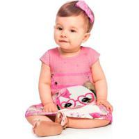 Vestido Bebê Malha Com Textura Det.Em Strassrosa