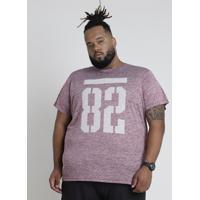 "Camiseta Masculina Bbb Esportiva Ace ""82"" Mescla Manga Curta Gola Careca Vinho"