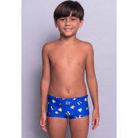 Sunga Juvenil Serra E Mar Modas Box Short Estampada Azul Royal