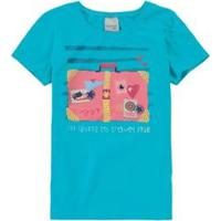 Blusa Infantil Malha Uv Malwee Kids Feminina - Feminino-Azul