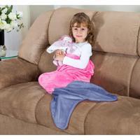 Cobertor Cauda De Sereia Infantil Saco De Dormir 01 Peça (Toque Aveludado) - Rosa