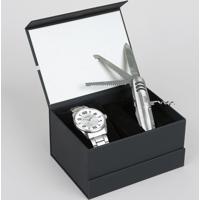 Kit De Relógio Analógico Orient Masculino + Canivete - Mbss1297 Kf75S2Sx Prateado